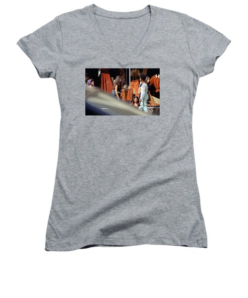 Fall Colors And Bus Riders Women's V-Neck