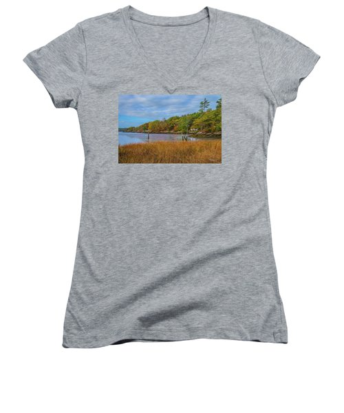 Fall Colors In Edgecomb Too Women's V-Neck