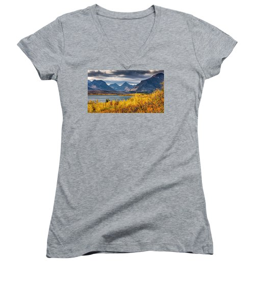 Women's V-Neck T-Shirt (Junior Cut) featuring the photograph Fall Colors In Glacier National Park by Pierre Leclerc Photography