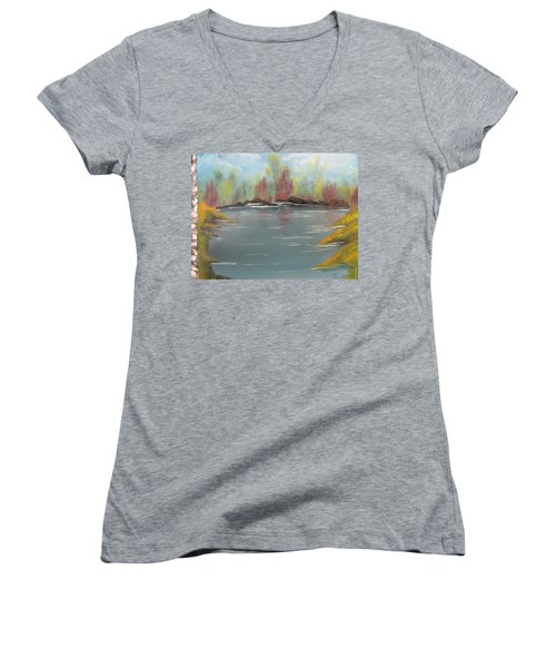 Fall Colors Women's V-Neck T-Shirt (Junior Cut) by Thomas Janos