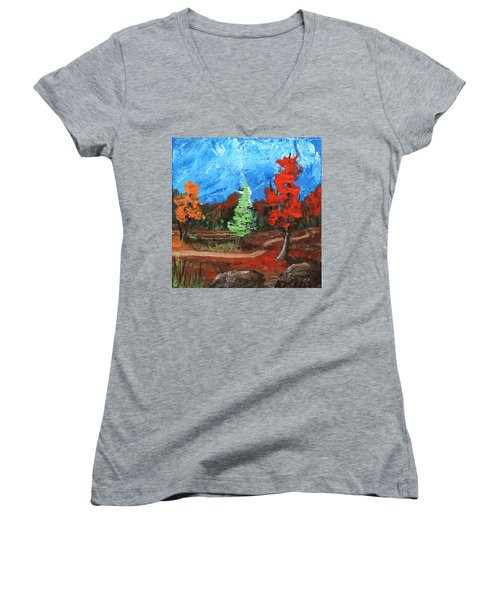 Women's V-Neck featuring the painting Fall Colours #2 by Anastasiya Malakhova