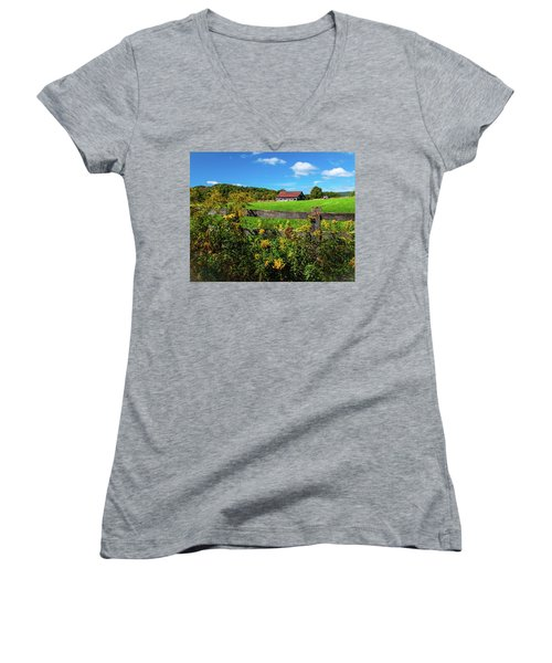 Women's V-Neck T-Shirt (Junior Cut) featuring the photograph Fall Farm by Rebecca Hiatt