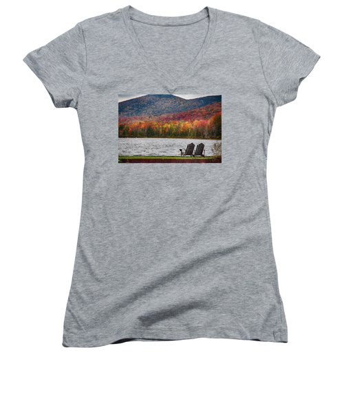 Fall Foliage At Noyes Pond Women's V-Neck