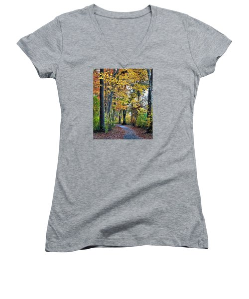 Fall Foliage Women's V-Neck T-Shirt (Junior Cut) by Mikki Cucuzzo