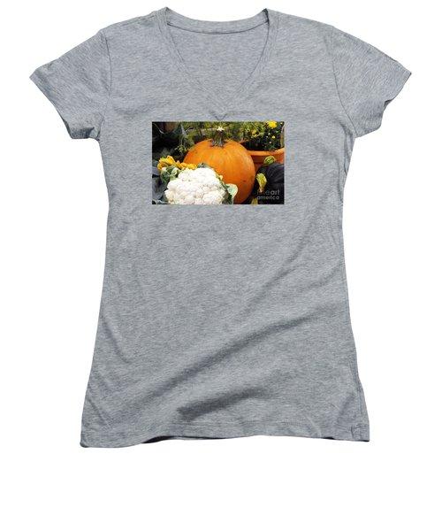 Fall Harvest Women's V-Neck T-Shirt (Junior Cut) by Judyann Matthews
