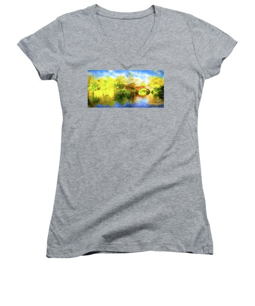 Women's V-Neck T-Shirt (Junior Cut) featuring the photograph Fall In Central Park by Jim  Hatch