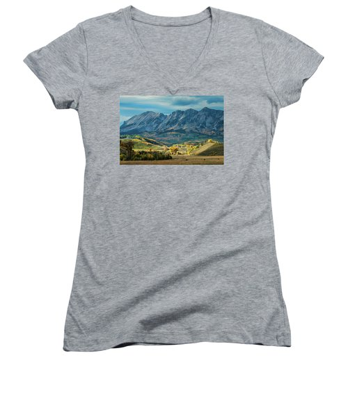 Women's V-Neck T-Shirt (Junior Cut) featuring the photograph Fall In Gunnison County by Dana Sohr