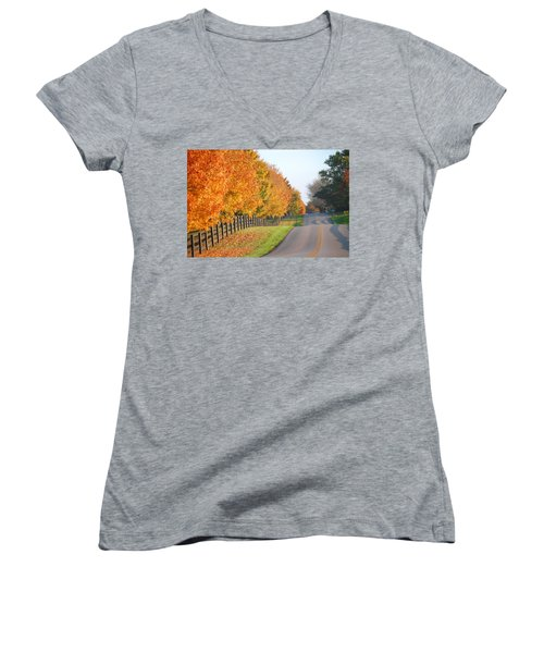 Women's V-Neck T-Shirt (Junior Cut) featuring the photograph Fall In Horse Farm Country by Sumoflam Photography