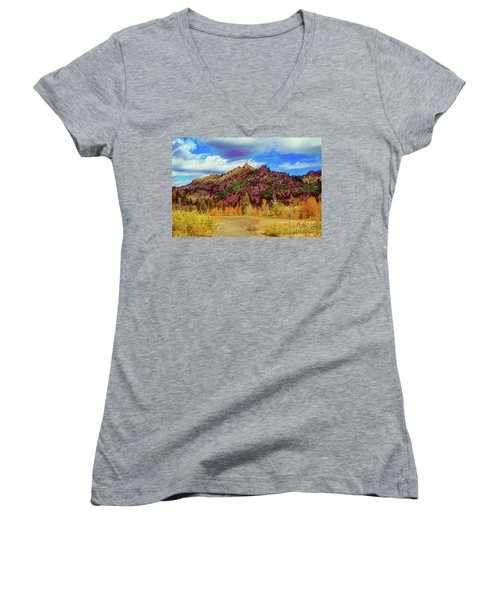 Fall In The Oregon Owyhee Canyonlands  Women's V-Neck T-Shirt (Junior Cut) by Robert Bales