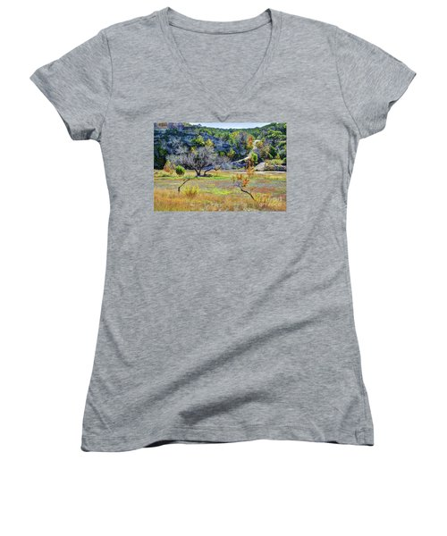 Fall In The Texas Hill Country Women's V-Neck (Athletic Fit)