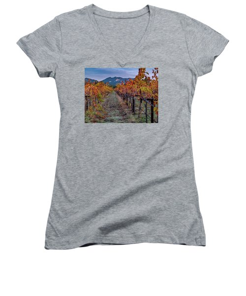 Women's V-Neck T-Shirt (Junior Cut) featuring the pastel Fall In Wine Country by Bill Gallagher