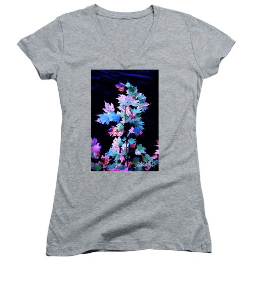 Fall Leaves1 Women's V-Neck (Athletic Fit)