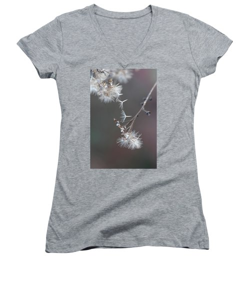 Women's V-Neck T-Shirt (Junior Cut) featuring the photograph Fall - Macro by Jeff Burgess
