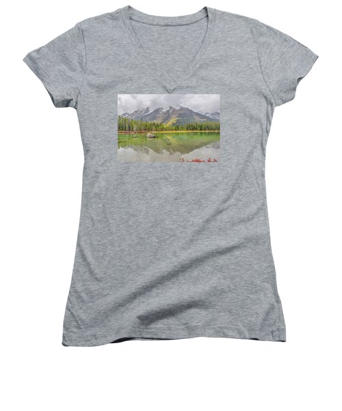 Fall Morning Along String Lake Women's V-Neck T-Shirt