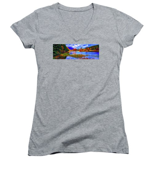 Women's V-Neck T-Shirt (Junior Cut) featuring the photograph Fall On Long Pond Acadia National Park Maine  by Tom Jelen
