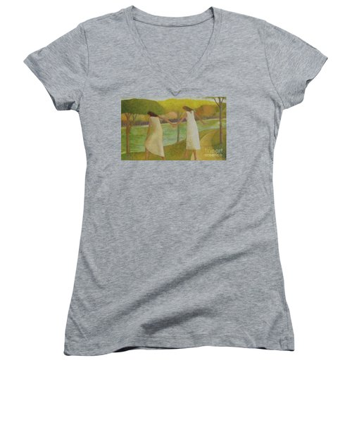 Women's V-Neck T-Shirt (Junior Cut) featuring the painting Fall River by Glenn Quist