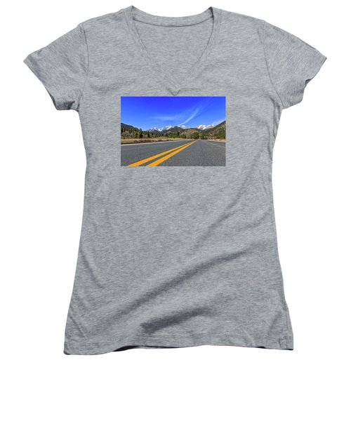 Women's V-Neck T-Shirt (Junior Cut) featuring the photograph Fall River Road With Mountain Background by Peter Ciro