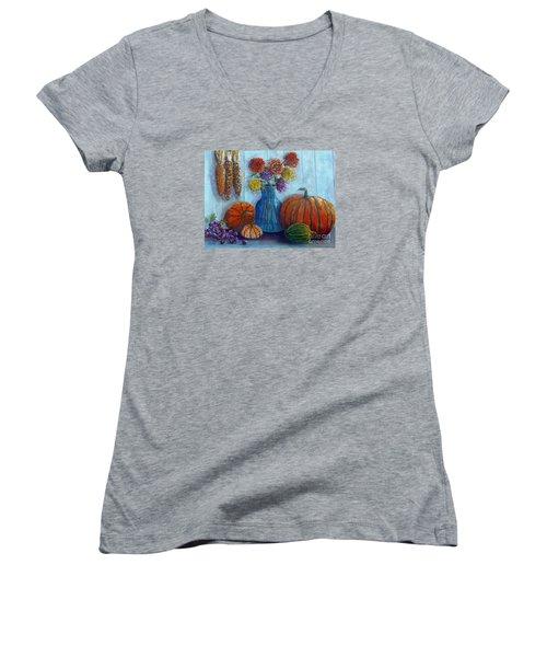Women's V-Neck T-Shirt (Junior Cut) featuring the painting Autumn Still Life by Lou Ann Bagnall