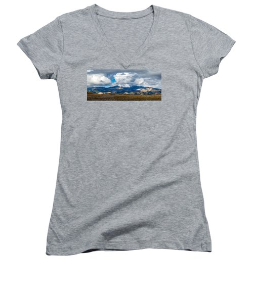 Fall Storm Clearing Off Pintada Mountain Women's V-Neck T-Shirt (Junior Cut) by John Brink