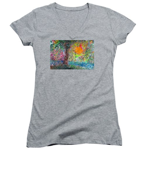 Women's V-Neck T-Shirt (Junior Cut) featuring the painting Fall Sun by Jacqueline Athmann