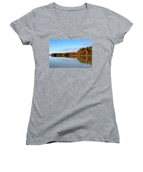 Fall Tree Reflections Lake Sabago Maine Women's V-Neck T-Shirt