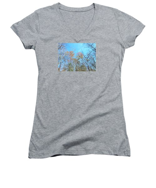 Fall Trees Women's V-Neck T-Shirt (Junior Cut) by Kay Gilley