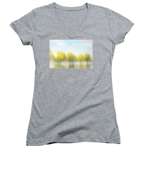 Fall Trees On Flooded Lake Women's V-Neck T-Shirt (Junior Cut) by Robert FERD Frank