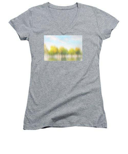 Fall Trees On Flooded Lake Women's V-Neck T-Shirt