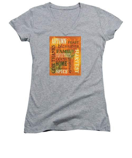 Fall Typography 1 Women's V-Neck (Athletic Fit)
