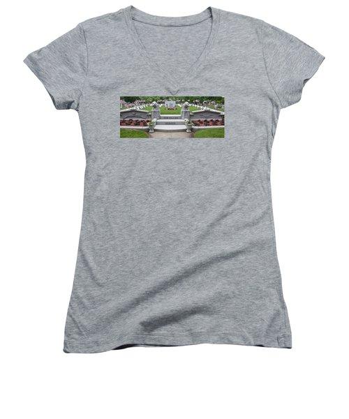 Fallen Heroes Remembered Women's V-Neck T-Shirt (Junior Cut) by Caroline Stella