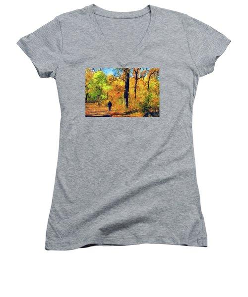 Fallen Leaves Women's V-Neck T-Shirt