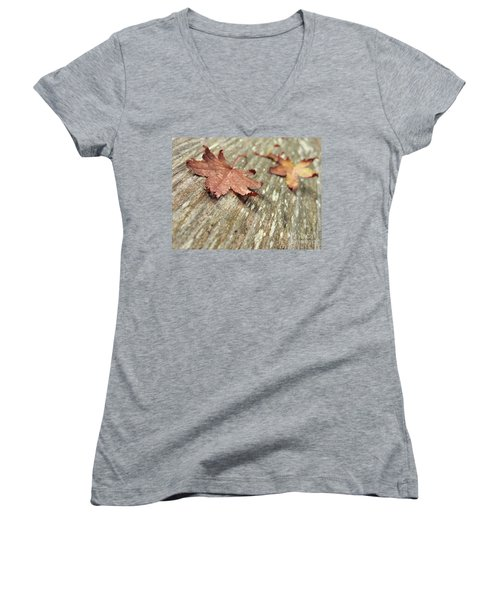 Women's V-Neck T-Shirt featuring the photograph Fallen Leaves by Peggy Hughes
