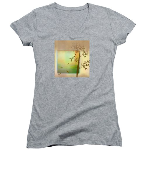 Falling Leaves Women's V-Neck T-Shirt (Junior Cut) by Nina Bradica