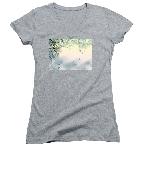 Falling Leaves Women's V-Neck T-Shirt (Junior Cut) by Trilby Cole
