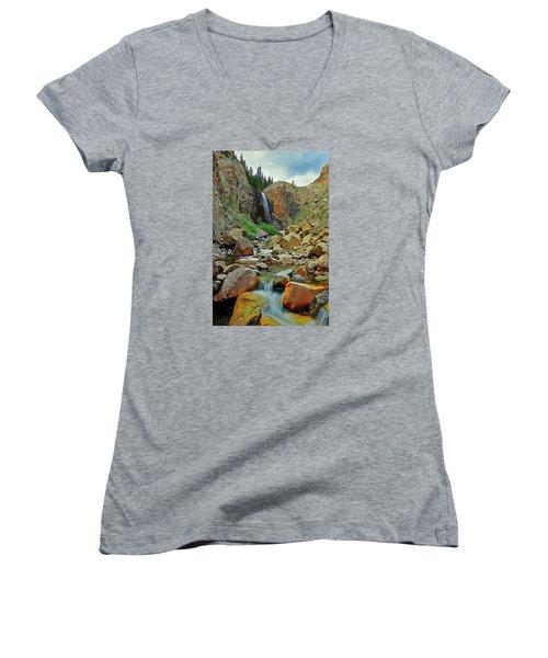 Falling Women's V-Neck T-Shirt (Junior Cut) by Matt Helm