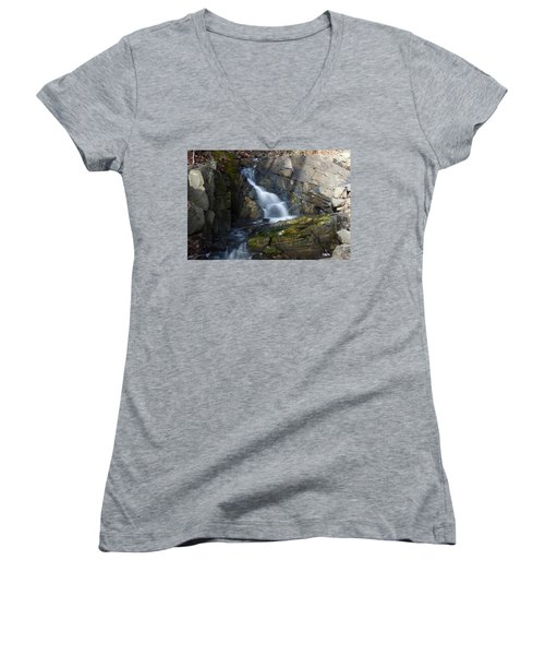Falling Waters In February #2 Women's V-Neck T-Shirt (Junior Cut) by Jeff Severson