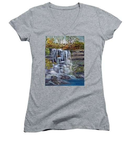 Falls At Rock Glen Women's V-Neck T-Shirt