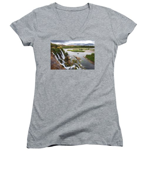 Falls Creak Falls And Snake River Women's V-Neck