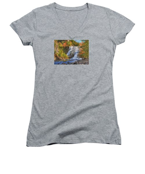 Falls In New York Women's V-Neck T-Shirt (Junior Cut) by Sharon Batdorf