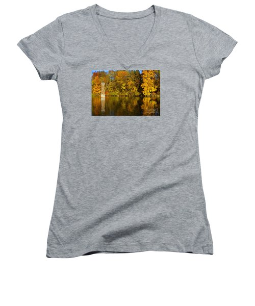 Falls Park Lighthouse In Fall Women's V-Neck T-Shirt