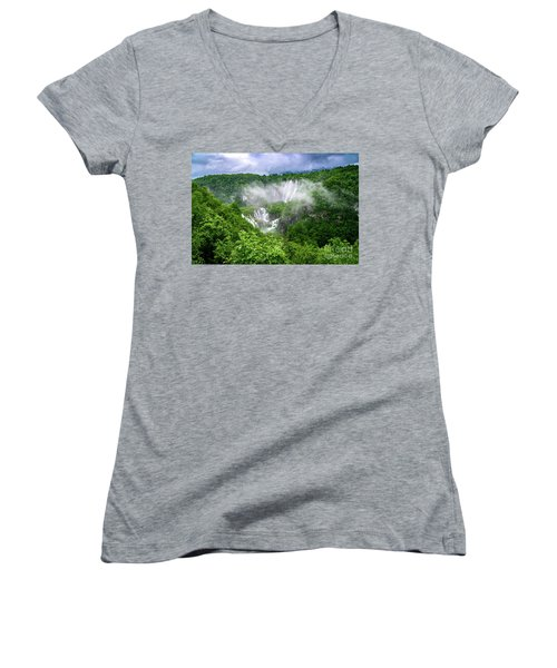 Falls Through The Fog - Plitvice Lakes National Park Croatia Women's V-Neck