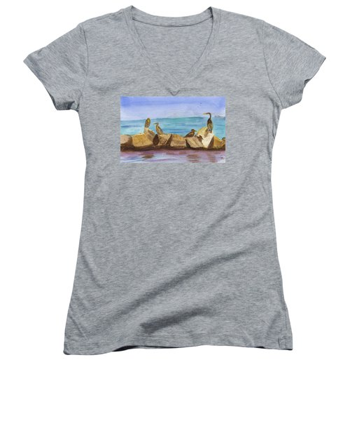 Women's V-Neck T-Shirt (Junior Cut) featuring the painting Falmouth Mass by Donna Walsh