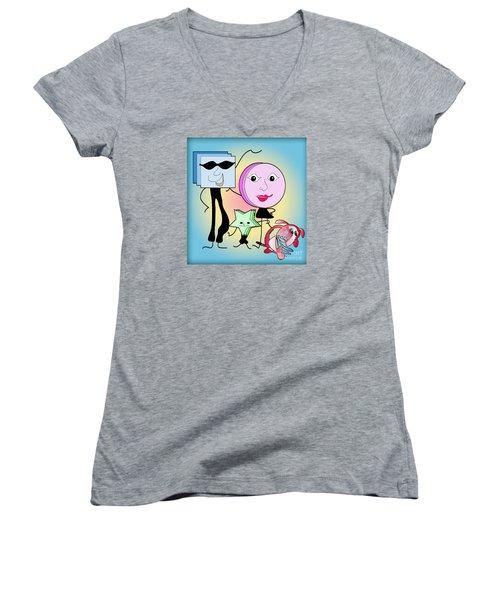 Families Women's V-Neck T-Shirt (Junior Cut) by Iris Gelbart
