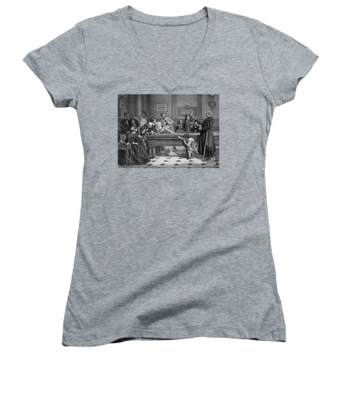 Family Billiards 1891 Women's V-Neck T-Shirt (Junior Cut) by Padre Art