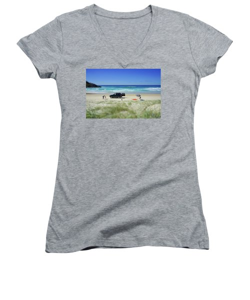 Family Day On Beach With 4wd Car  Women's V-Neck