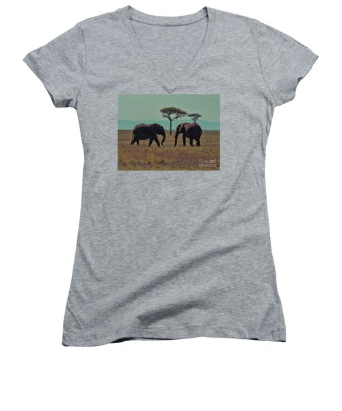 Women's V-Neck T-Shirt (Junior Cut) featuring the photograph Family by Karen Lewis