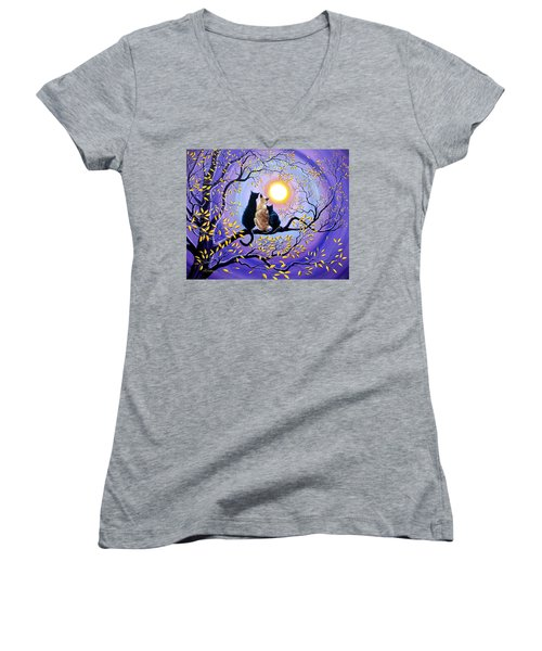 Family Moon Gazing Night Women's V-Neck T-Shirt