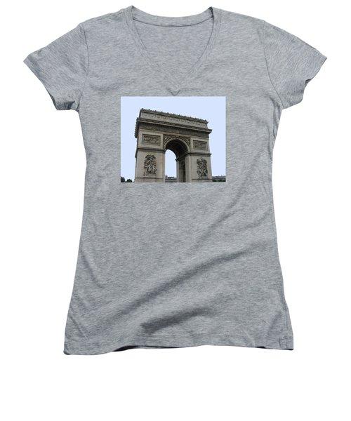 Famous Gate Of Paris - Arc De France Women's V-Neck T-Shirt (Junior Cut) by Suhas Tavkar