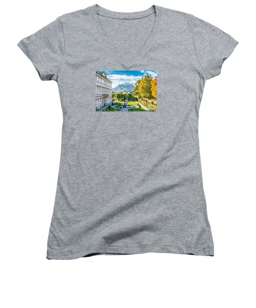 Famous Mirabell Gardens With Historic Fortress In Salzburg, Aust Women's V-Neck T-Shirt