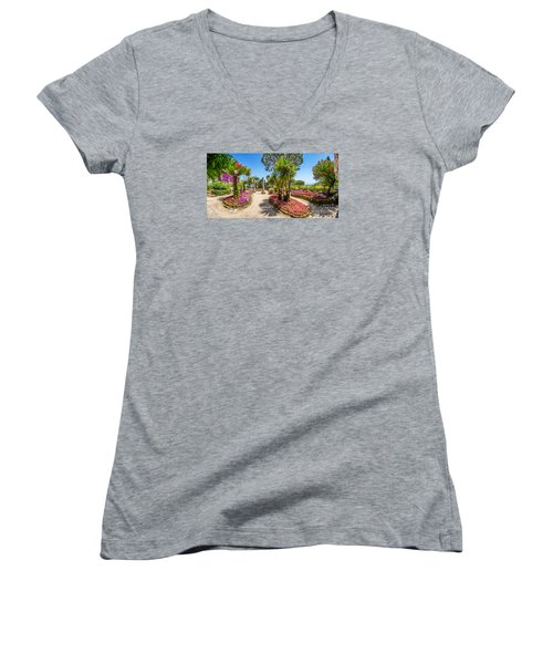 Famous Villa Rufolo Gardens In Ravello At Amalfi Coast, Italy Women's V-Neck T-Shirt
